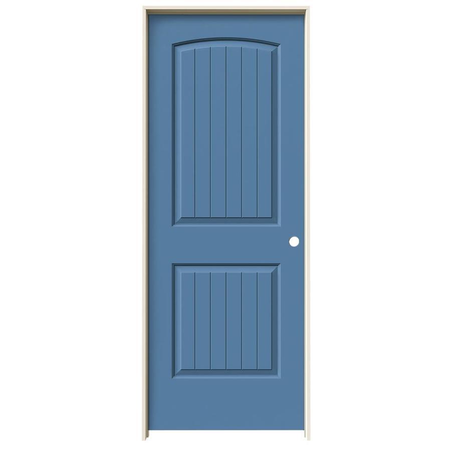 JELD-WEN Blue Heron Prehung Solid Core 2-Panel Round Top Plank Interior Door (Common: 30-in x 80-in; Actual: 31.562-in x 81.688-in)