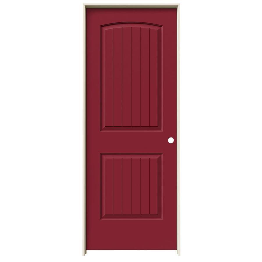 JELD-WEN Barn Red Prehung Solid Core 2-Panel Round Top Plank Interior Door (Common: 30-in x 80-in; Actual: 31.562-in x 81.688-in)