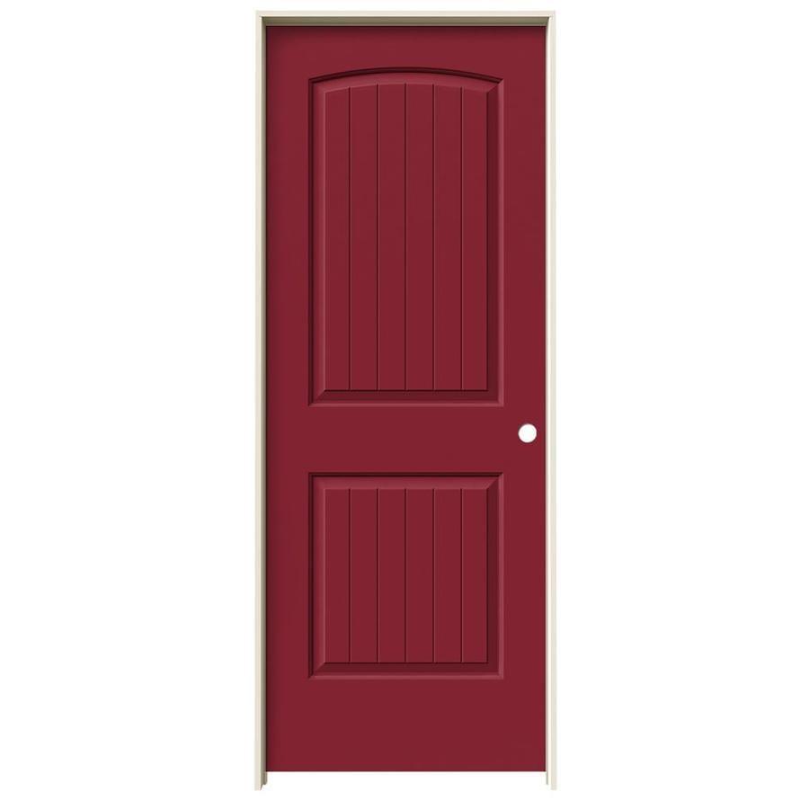 JELD-WEN Barn Red Prehung Solid Core 2-Panel Round Top Plank Interior Door (Common: 32-in x 80-in; Actual: 33.562-in x 81.688-in)