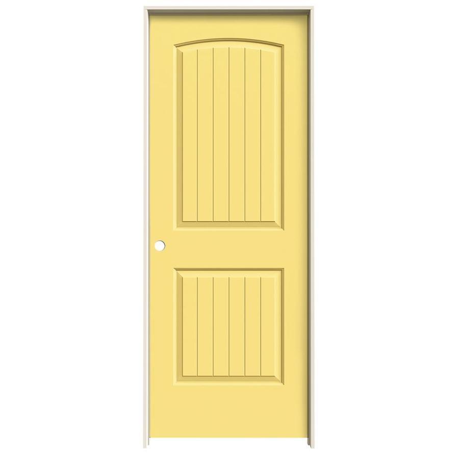 JELD-WEN Marigold Prehung Solid Core 2-Panel Round Top Plank Interior Door (Common: 24-in x 80-in; Actual: 25.562-in x 81.688-in)