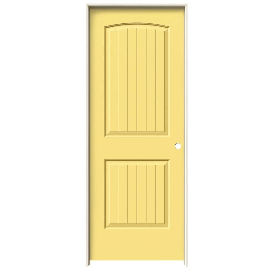 JELD-WEN Marigold Prehung Solid Core 2-Panel Round Top Plank Interior Door (Common: 28-in x 80-in; Actual: 29.562-in x 81.688-in)