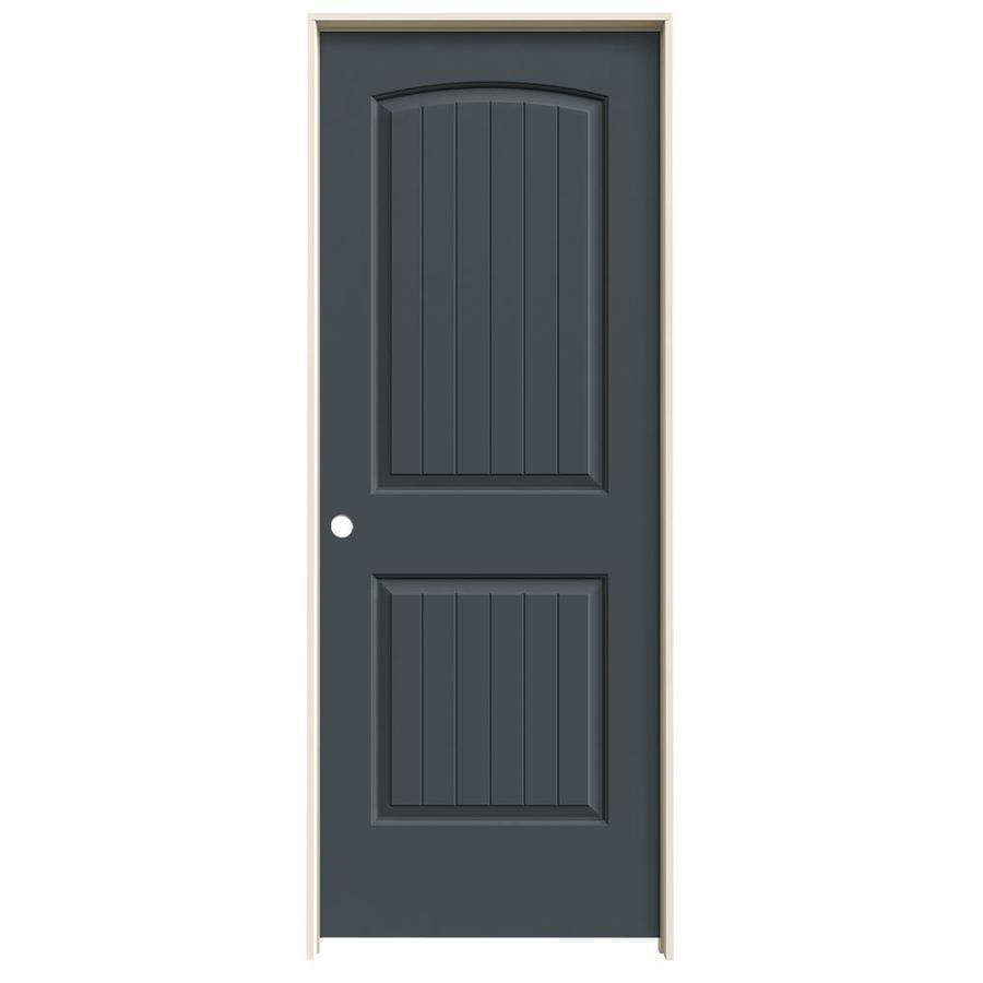 JELD-WEN Slate Prehung Solid Core 2-Panel Round Top Plank Interior Door (Common: 30-in x 80-in; Actual: 31.562-in x 81.688-in)