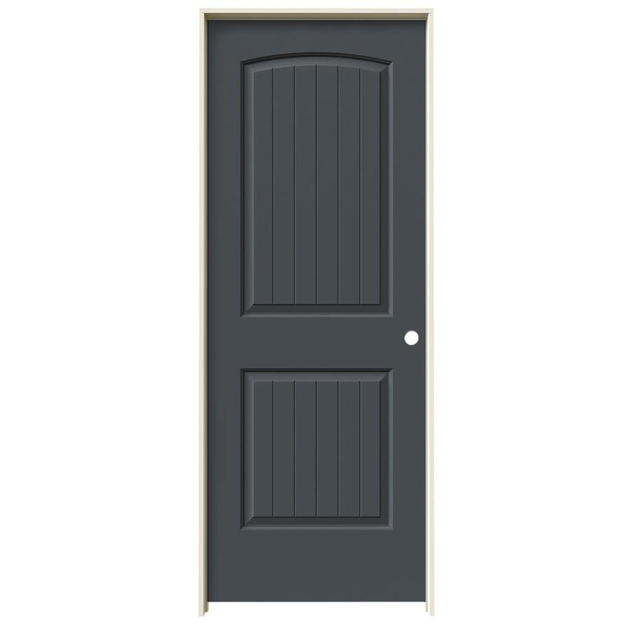 JELD-WEN Slate Prehung Solid Core 2-Panel Round Top Plank Interior Door (Common: 32-in x 80-in; Actual: 33.562-in x 81.688-in)