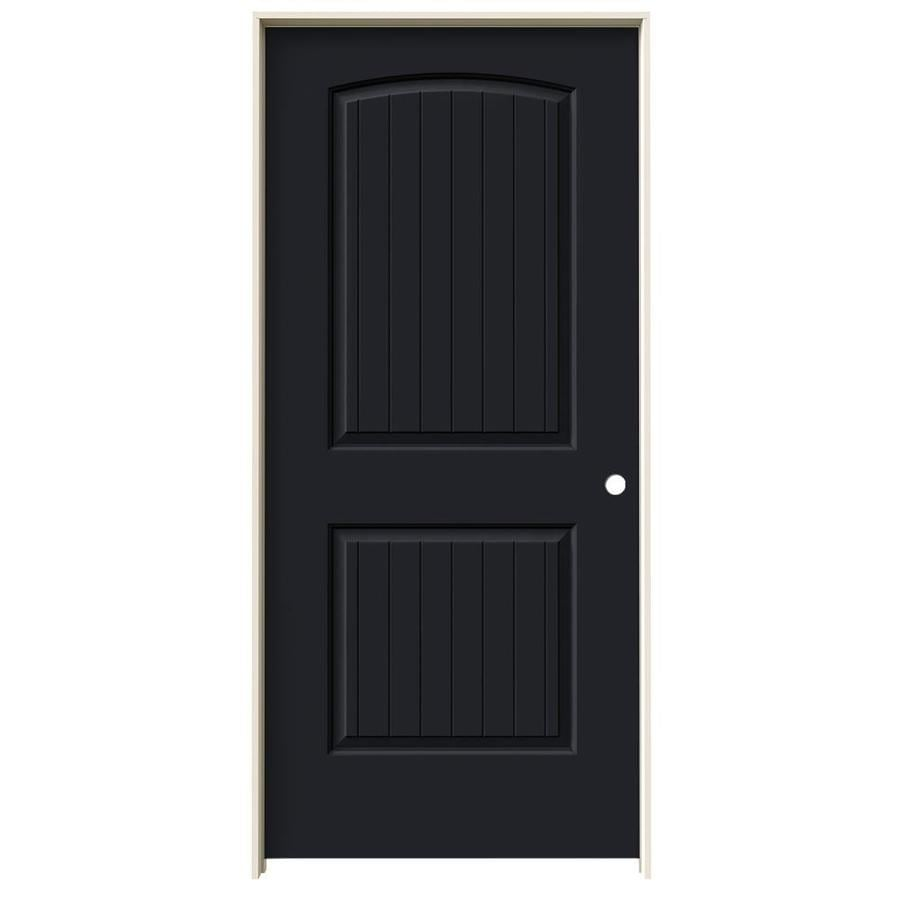 JELD-WEN Midnight Prehung Solid Core 2-Panel Round Top Plank Interior Door (Common: 36-in x 80-in; Actual: 37.562-in x 81.688-in)