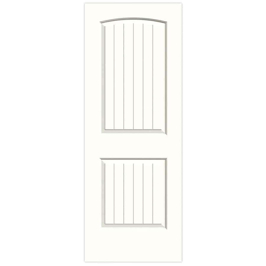 JELD-WEN Snow Storm Hollow Core 2-Panel Round Top Plank Slab Interior Door (Common: 28-in x 80-in; Actual: 28-in x 80-in)
