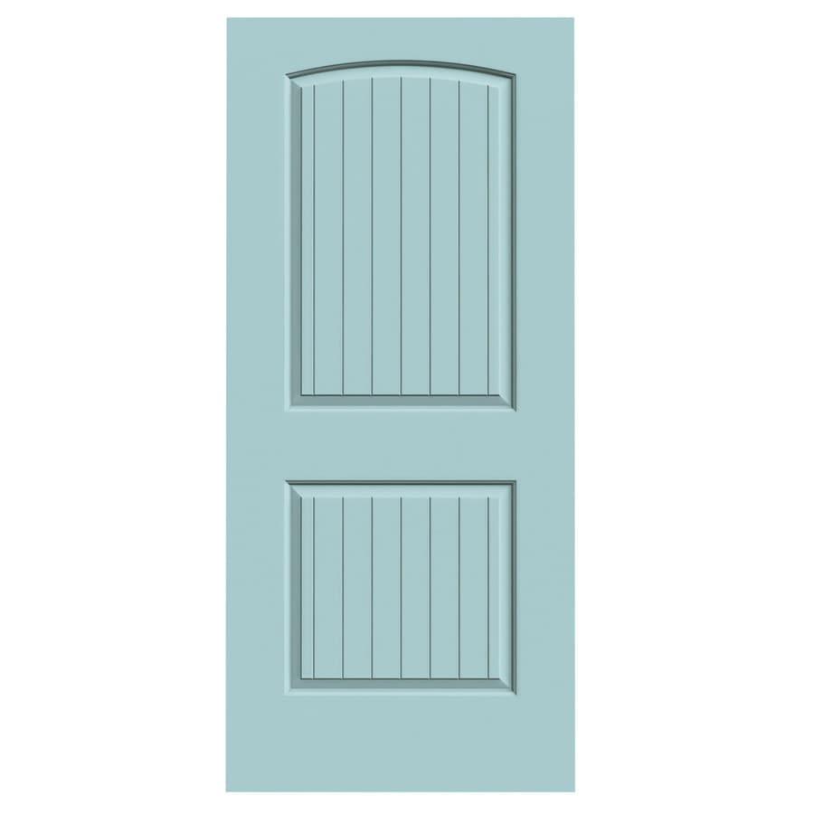JELD-WEN Sea Mist Hollow Core 2-Panel Round Top Plank Slab Interior Door (Common: 36-in x 80-in; Actual: 36-in x 80-in)