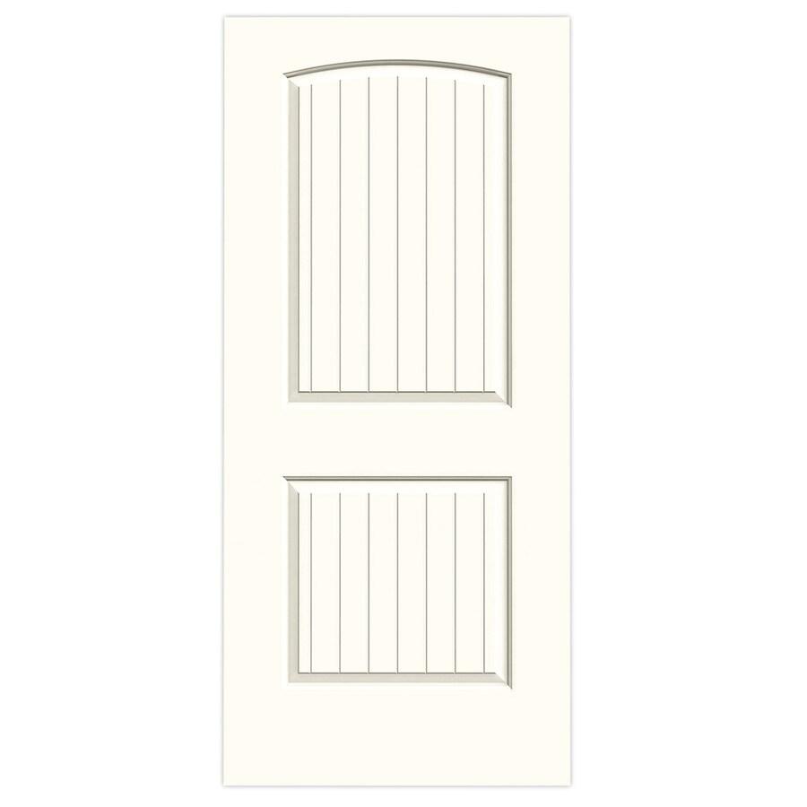 JELD-WEN Moonglow Solid Core 2-Panel Round Top Plank Slab Interior Door (Common: 36-in x 80-in; Actual: 36-in x 80-in)