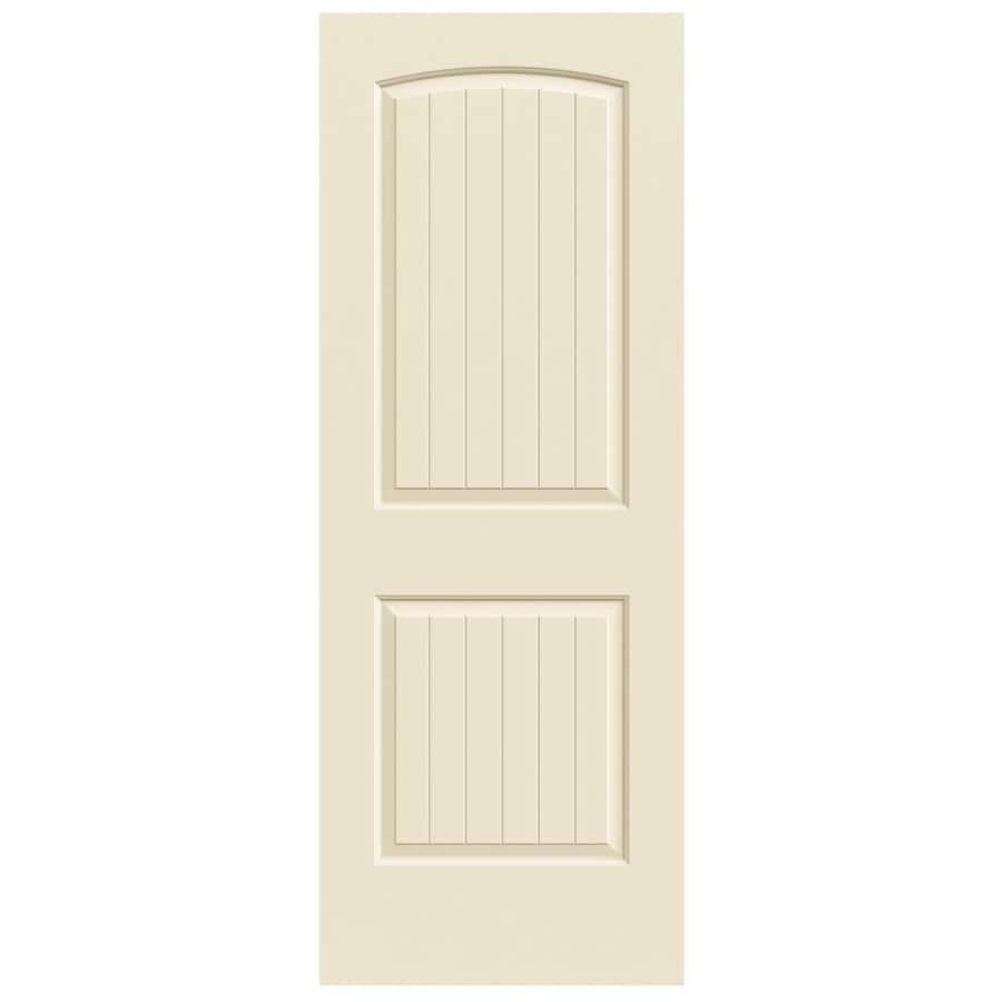JELD-WEN Cream-N-Sugar Solid Core 2-Panel Round Top Plank Slab Interior Door (Common: 28-in x 80-in; Actual: 28-in x 80-in)