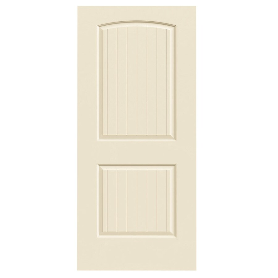 JELD-WEN Cream-N-Sugar Solid Core 2-Panel Round Top Plank Slab Interior Door (Common: 36-in x 80-in; Actual: 36-in x 80-in)