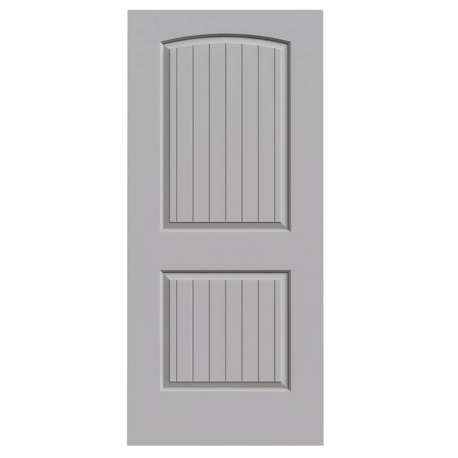 JELD-WEN Driftwood Solid Core 2-Panel Round Top Plank Slab Interior Door (Common: 36-in x 80-in; Actual: 36-in x 80-in)