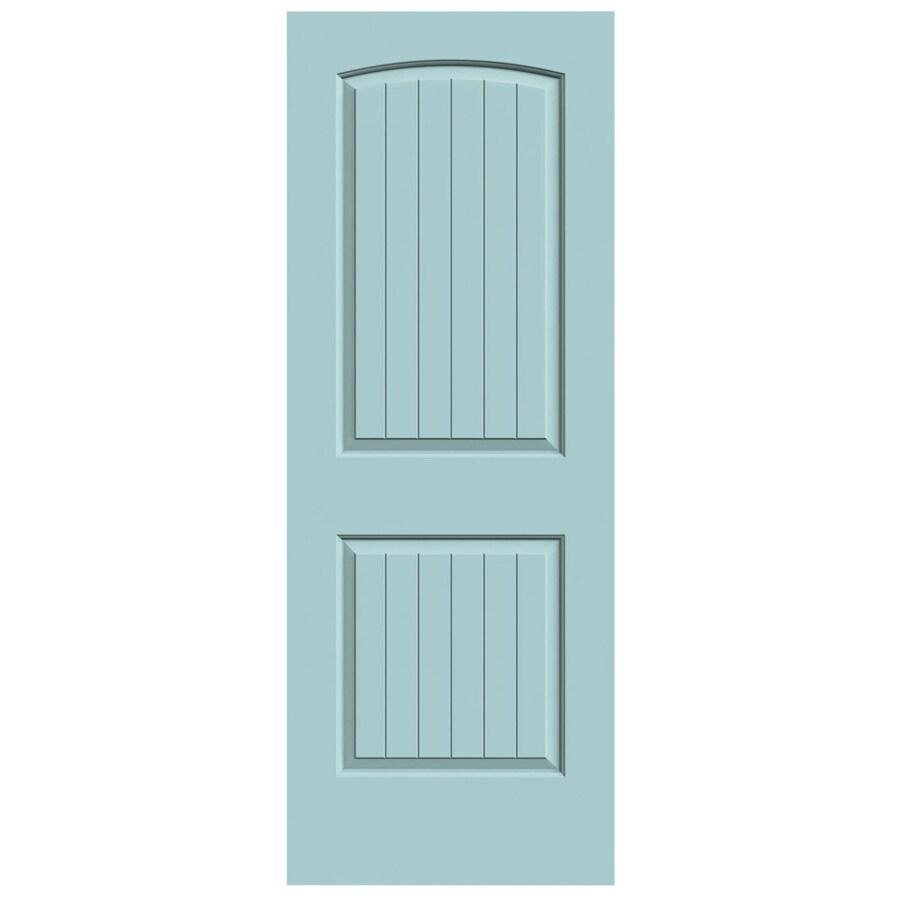 JELD-WEN Sea Mist Solid Core 2-Panel Round Top Plank Slab Interior Door (Common: 24-in x 80-in; Actual: 24-in x 80-in)