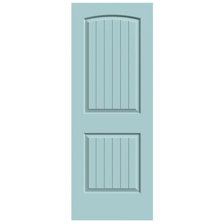 JELD-WEN Sea Mist Solid Core 2-Panel Round Top Plank Slab Interior Door (Common: 32-in x 80-in; Actual: 32-in x 80-in)