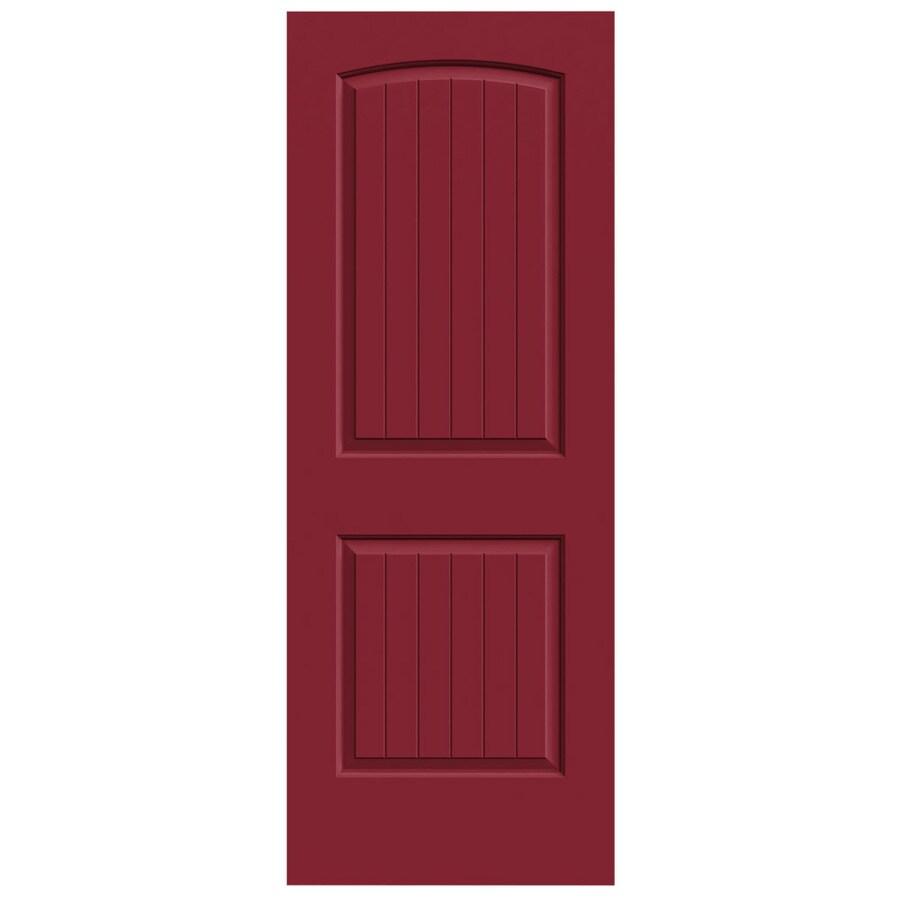 JELD-WEN Barn Red Solid Core 2-Panel Round Top Plank Slab Interior Door (Common: 24-in x 80-in; Actual: 24-in x 80-in)