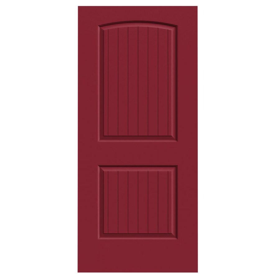 JELD-WEN Barn Red Solid Core 2-Panel Round Top Plank Slab Interior Door (Common: 36-in x 80-in; Actual: 36-in x 80-in)