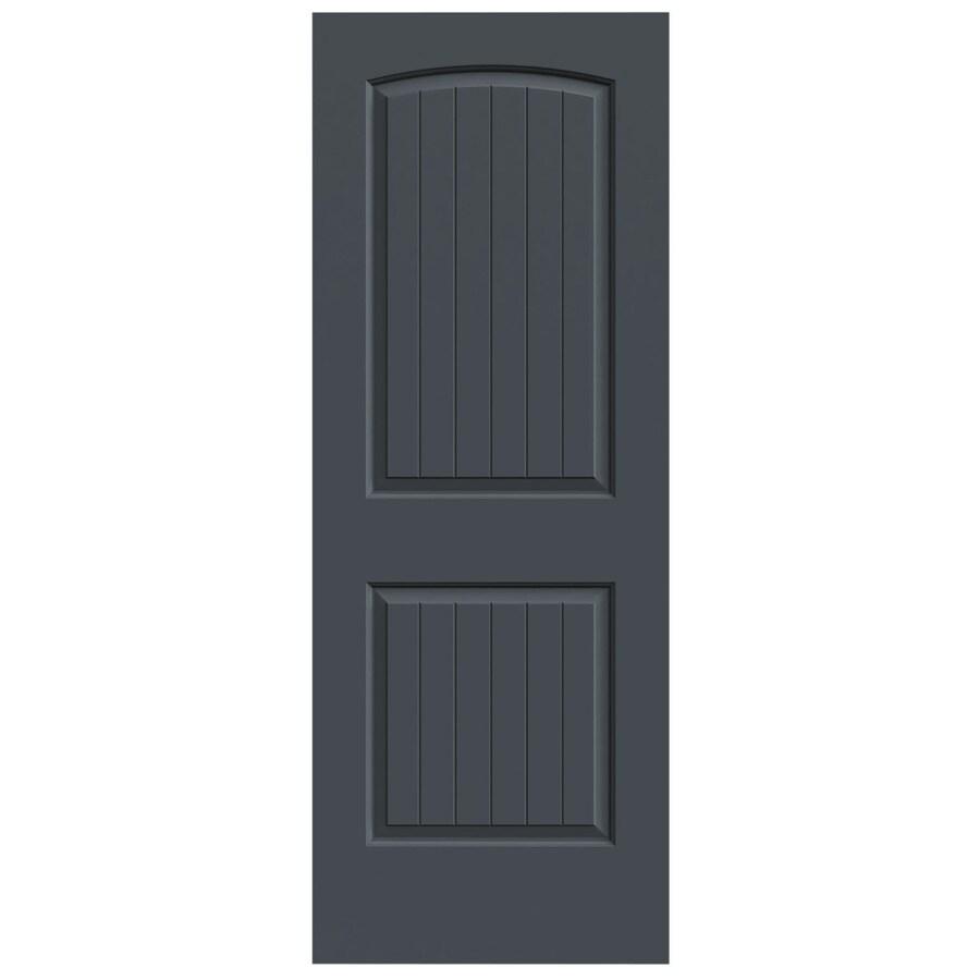 JELD-WEN Slate Solid Core 2-Panel Round Top Plank Slab Interior Door (Common: 24-in x 80-in; Actual: 24-in x 80-in)