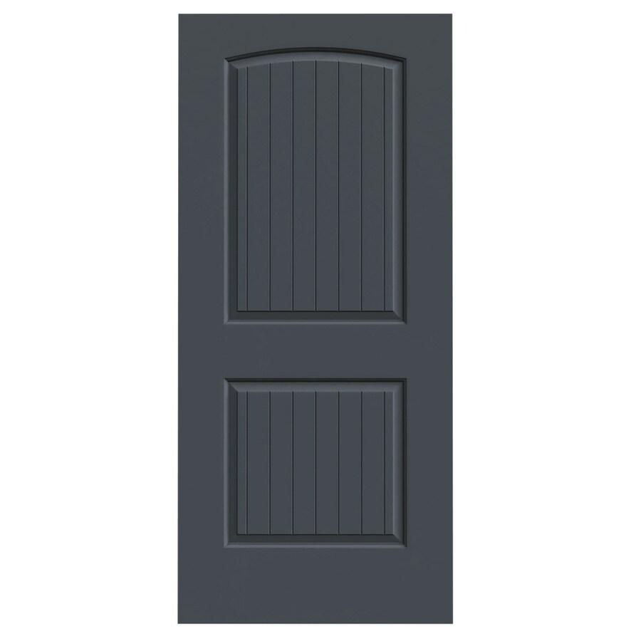 JELD-WEN Slate Solid Core 2-Panel Round Top Plank Slab Interior Door (Common: 36-in x 80-in; Actual: 36-in x 80-in)