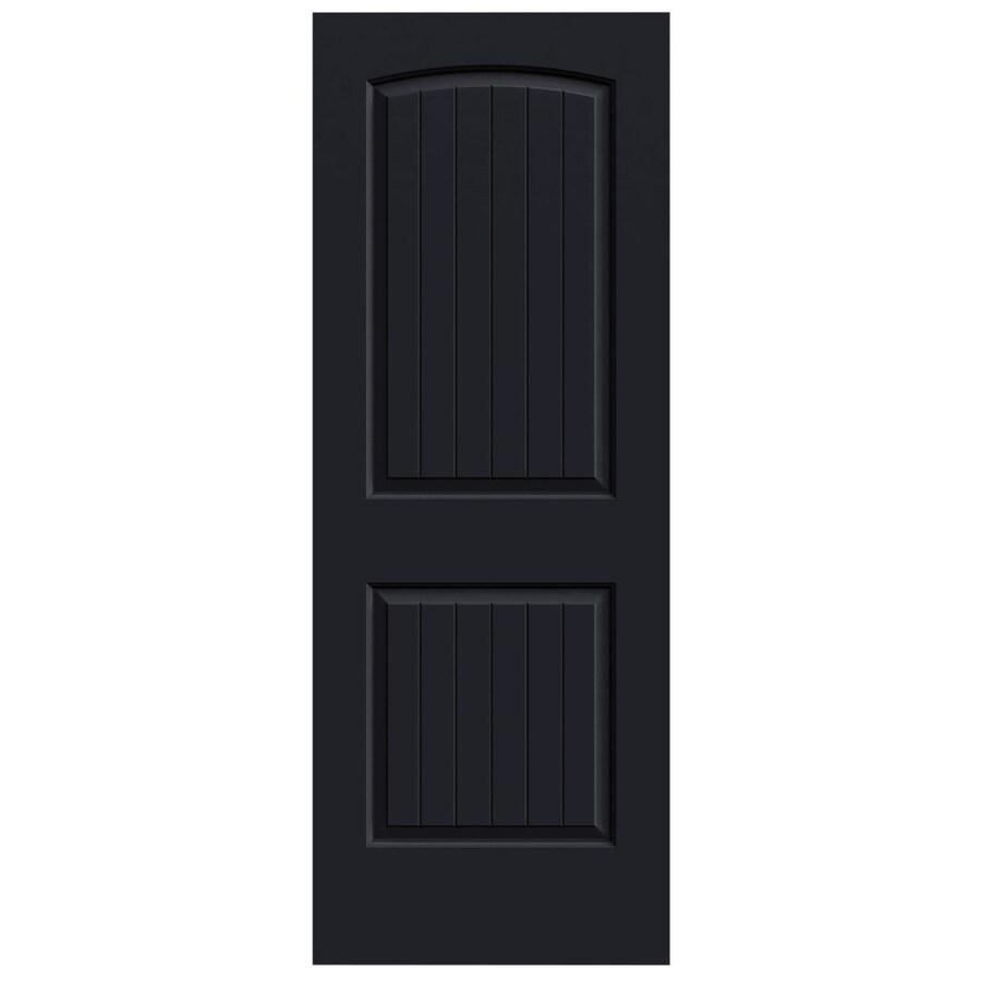 JELD-WEN Midnight Solid Core 2-Panel Round Top Plank Slab Interior Door (Common: 32-in x 80-in; Actual: 32-in x 80-in)