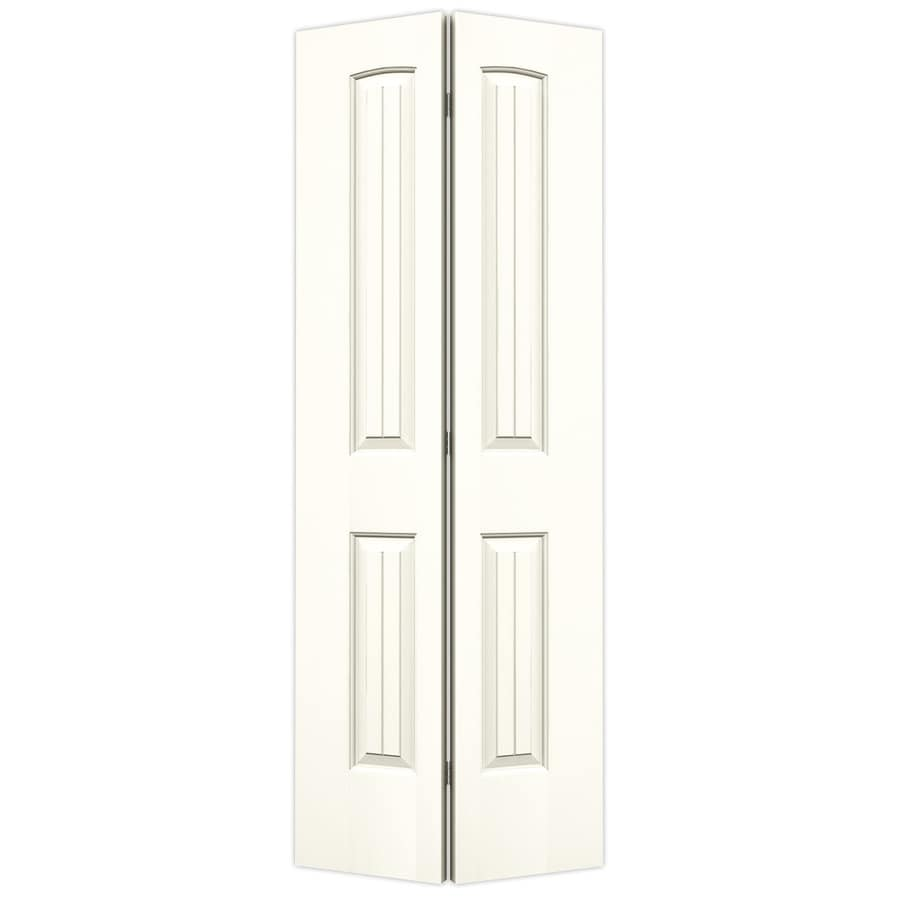 Shop Jeld Wen White Hollow Core 2 Panel Round Top Plank Bi Fold Closet Interior Door Common 24