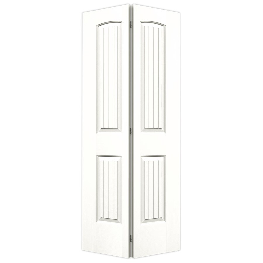 JELD-WEN Snow Storm Hollow Core 2-Panel Round Top Plank Bi-Fold Closet Interior Door (Common: 36-in x 80-in; Actual: 35.5-in x 79-in)