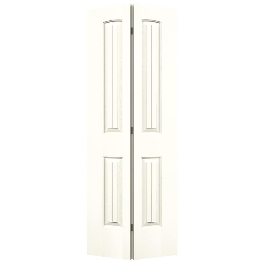 JELD-WEN Moonglow Hollow Core 2-Panel Round Top Plank Bi-Fold Closet Interior Door (Common: 28-in x 80-in; Actual: 27.5-in x 79-in)