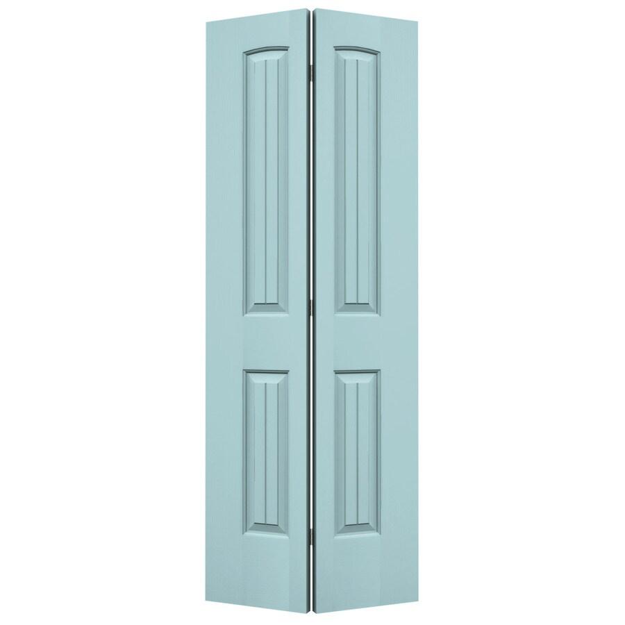 JELD-WEN Sea Mist Hollow Core 2-Panel Round Top Plank Bi-Fold Closet Interior Door (Common: 24-in x 80-in; Actual: 23.5-in x 79-in)