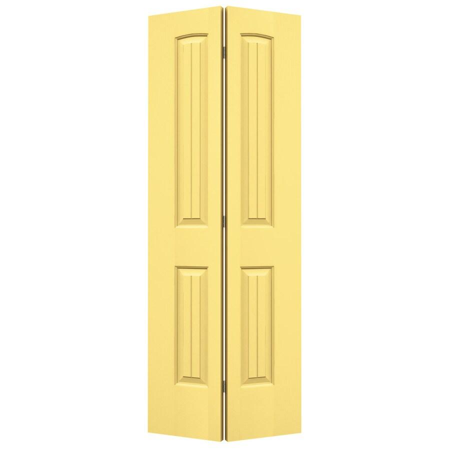 JELD-WEN Marigold Hollow Core 2-Panel Round Top Plank Bi-Fold Closet Interior Door (Common: 24-in x 80-in; Actual: 23.5-in x 79-in)