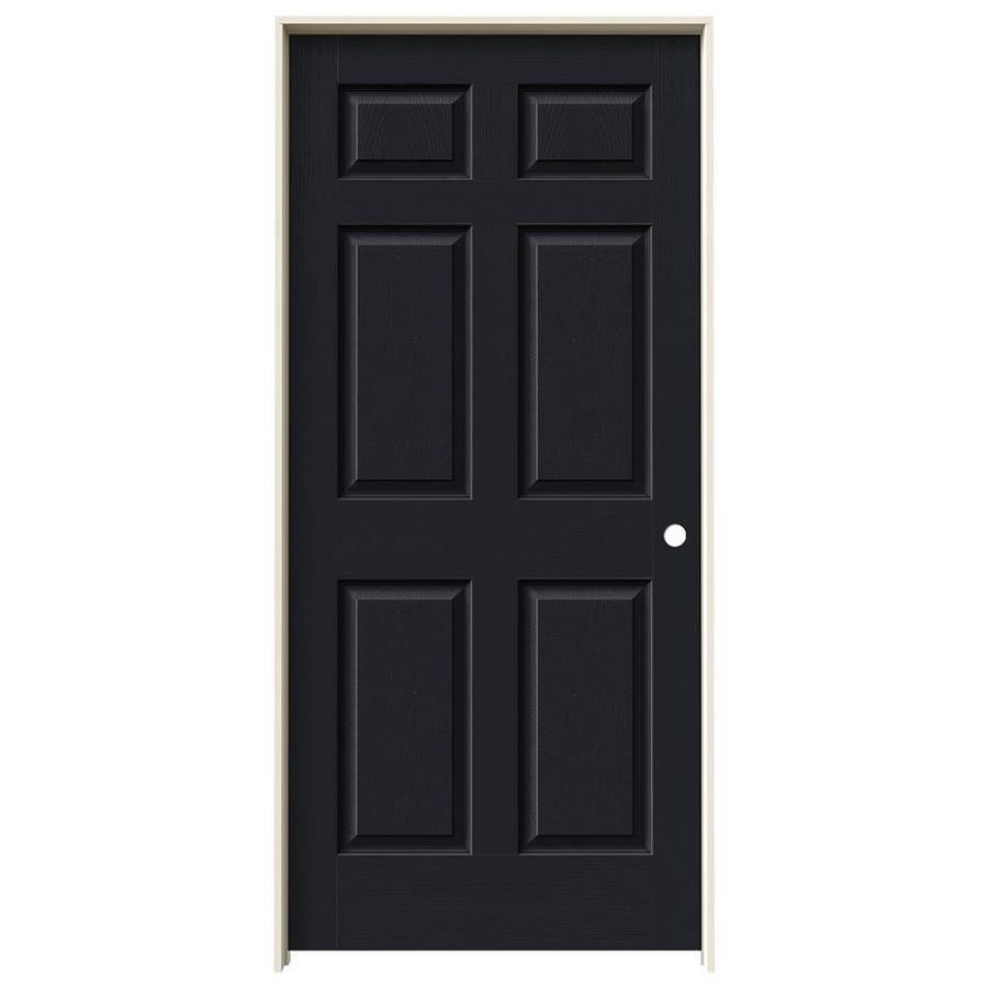 JELD-WEN Midnight Prehung Hollow Core 1-Panel Square Interior Door (Actual: 81.688-in x 37.562-in)