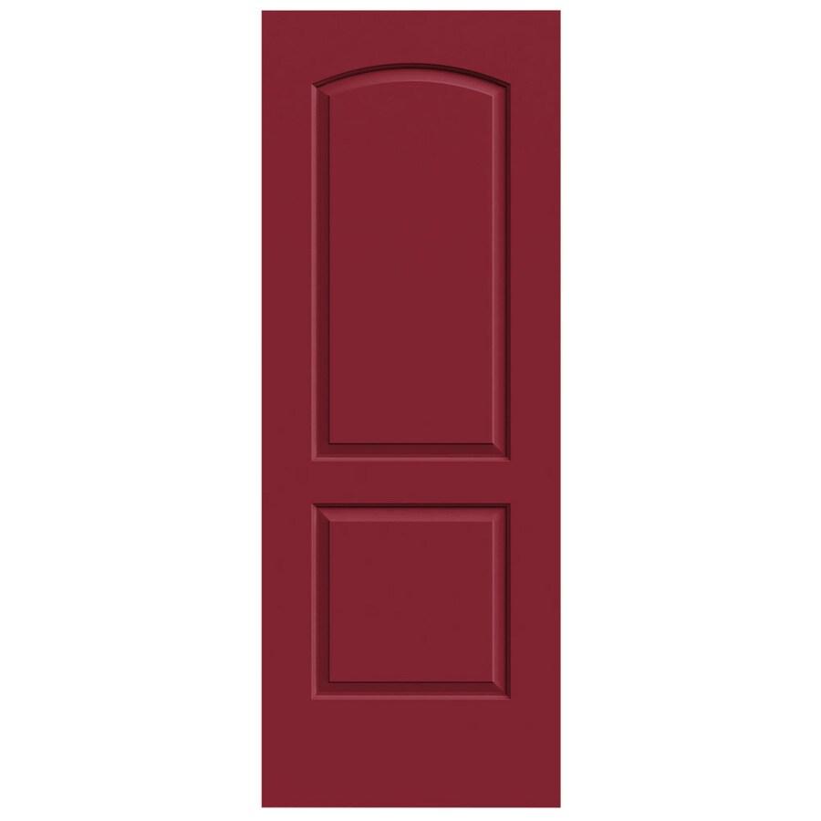 JELD-WEN Barn Red Solid Core 2-Panel Round Top Slab Interior Door (Common: 24-in x 80-in; Actual: 24-in x 80-in)