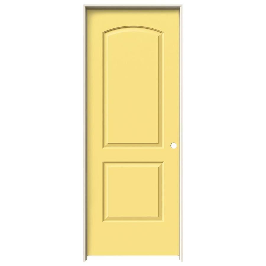 JELD-WEN Moonglow Prehung Hollow Core 2-Panel Round Top Plank Interior Door (Common: 28-in x 80-in; Actual: 29.562-in x 81.688-in)