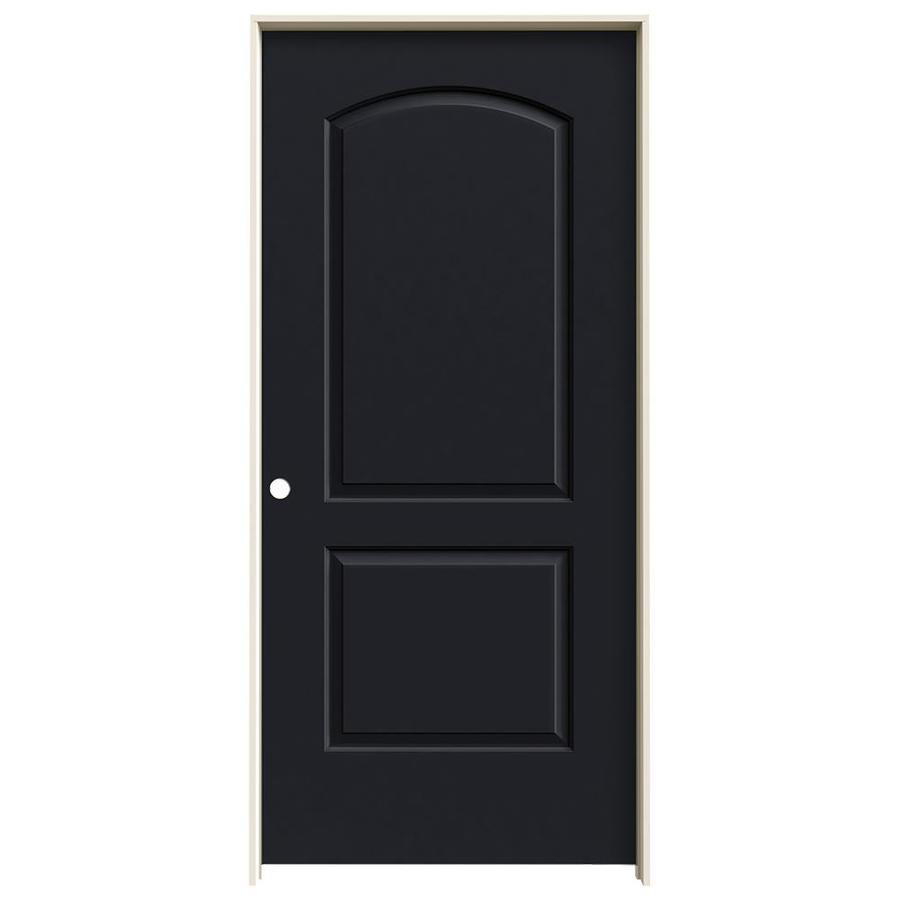 JELD-WEN Midnight Prehung Solid Core 2-Panel Round Top Interior Door (Common: 36-in x 80-in; Actual: 37.562-in x 81.688-in)