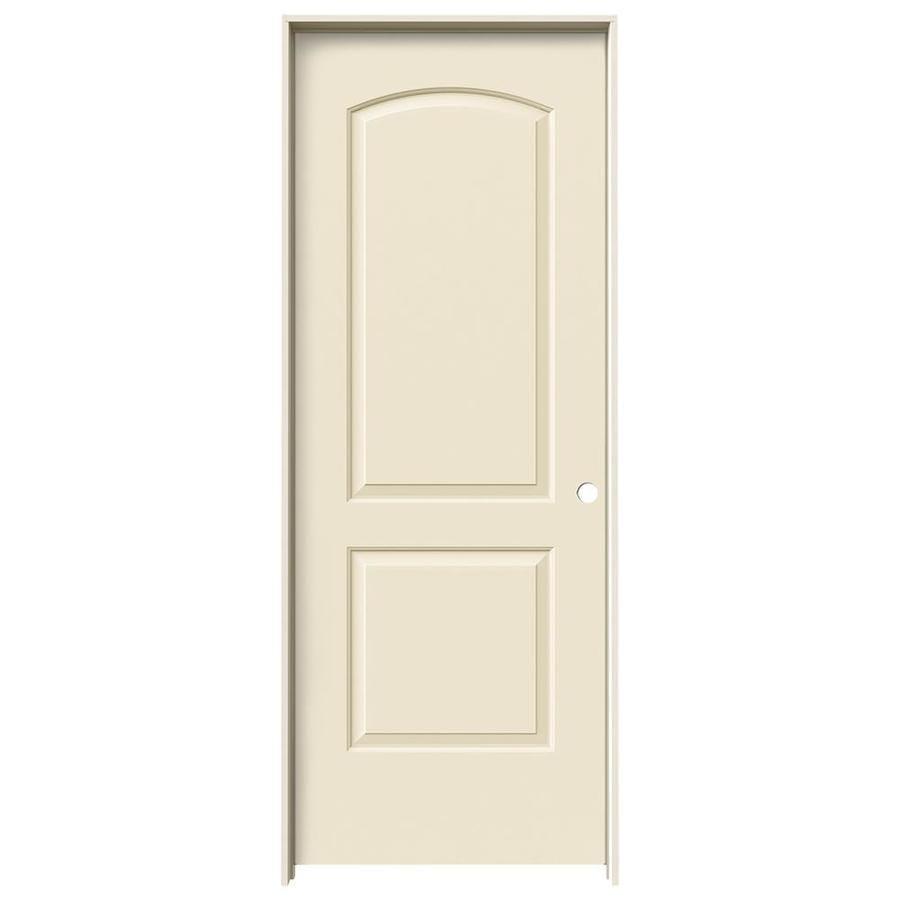 JELD-WEN Cream-N-Sugar Prehung Solid Core 2-Panel Round Top Interior Door (Common: 30-in x 80-in; Actual: 31.562-in x 81.688-in)