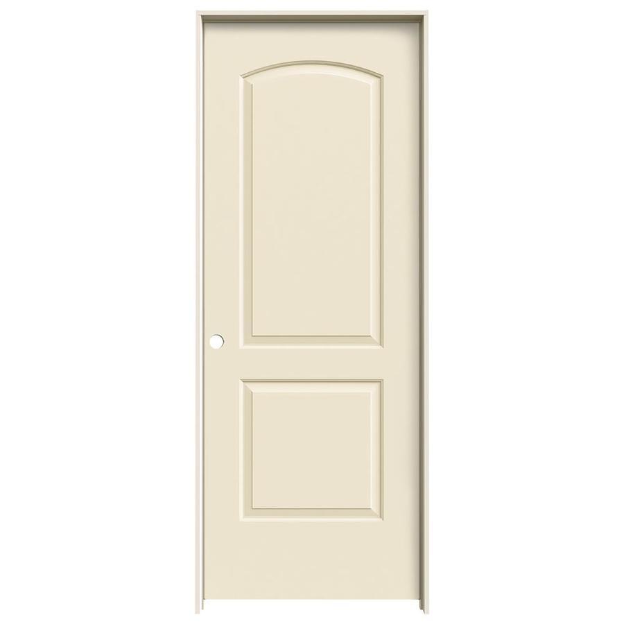 JELD-WEN Cream-N-Sugar Prehung Solid Core 2-Panel Round Top Interior Door (Common: 32-in x 80-in; Actual: 33.562-in x 81.688-in)