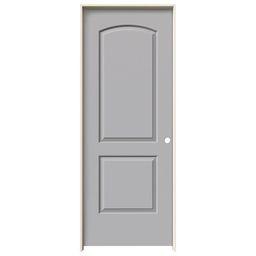 JELD-WEN Driftwood Prehung Solid Core 2-Panel Round Top Interior Door (Common: 32-in x 80-in; Actual: 33.562-in x 81.688-in)