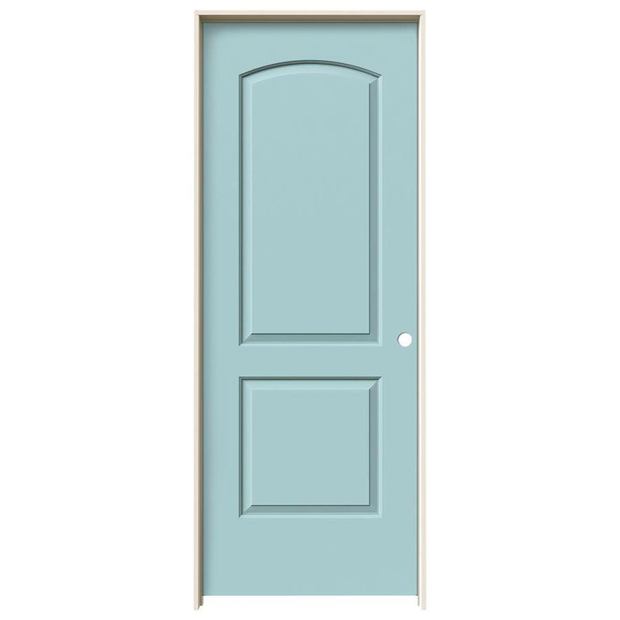 JELD-WEN Sea Mist Prehung Solid Core 2-Panel Round Top Interior Door (Common: 28-in x 80-in; Actual: 29.562-in x 81.688-in)