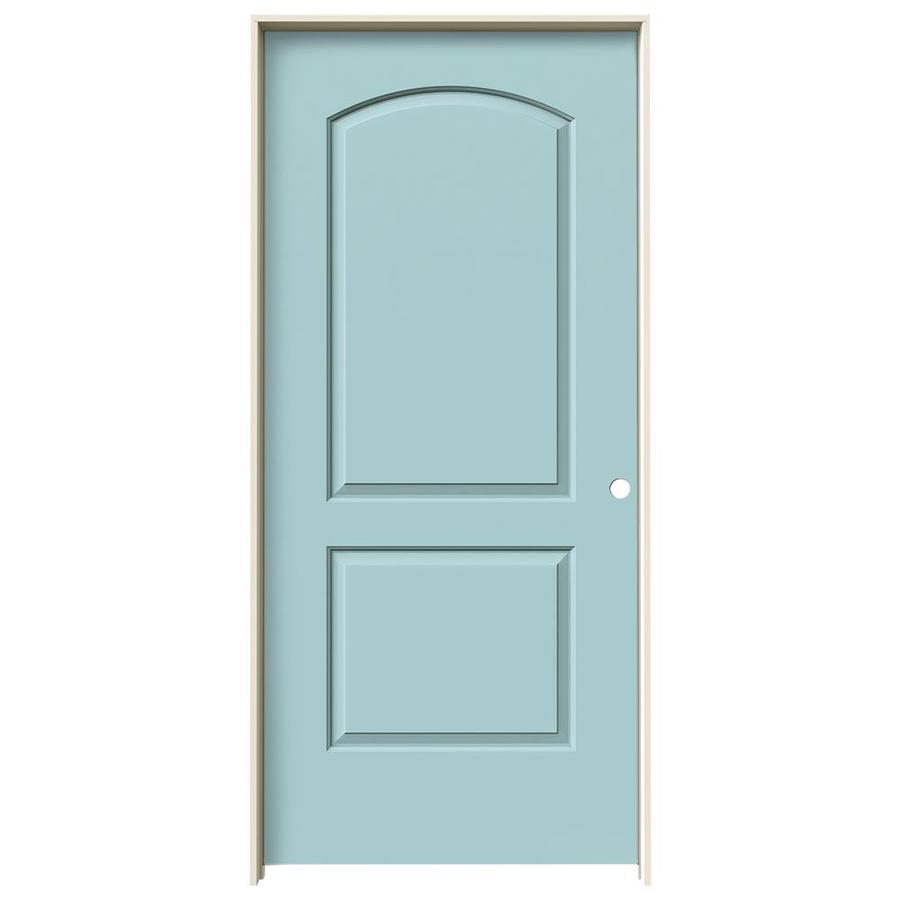 JELD-WEN Sea Mist Prehung Solid Core 2-Panel Round Top Interior Door (Common: 36-in x 80-in; Actual: 37.562-in x 81.688-in)