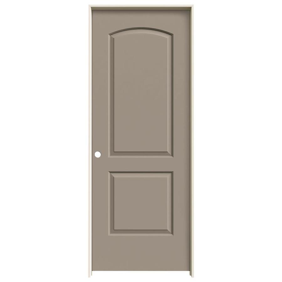JELD-WEN Sand Piper Prehung Solid Core 2-Panel Round Top Interior Door (Common: 32-in x 80-in; Actual: 33.562-in x 81.688-in)