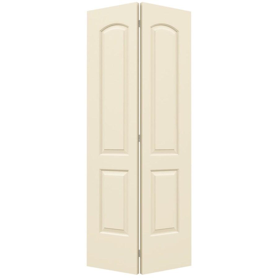 ReliaBilt Cream-N-Sugar Hollow Core 2-Panel Round Top Bi-Fold Closet Interior Door (Common: 36-in x 80-in; Actual: 35.5-in x 79-in)