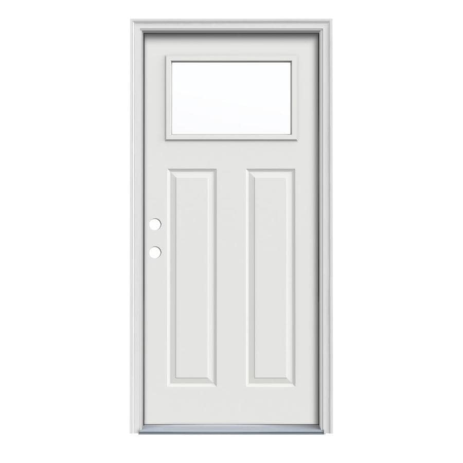 JELD-WEN Craftsman Insulating Core 1-Lite Right-Hand Inswing Arctic White Steel Painted Prehung Entry Door (Common: 32-in x 80-in; Actual: 33.5-in x 81.75-in)