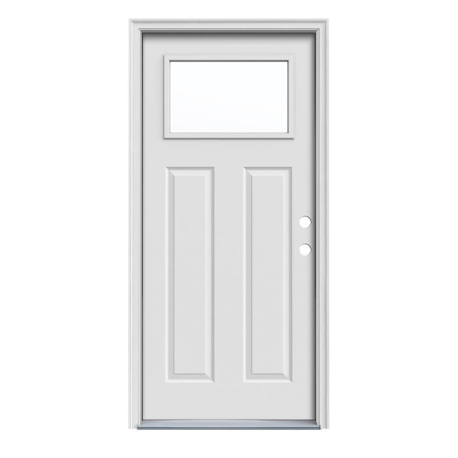 JELD-WEN Craftsman Insulating Core 1-Lite Left-Hand Inswing Steel Primed Prehung Entry Door (Common: 32-in x 80-in; Actual: 33.5-in x 81.75-in)