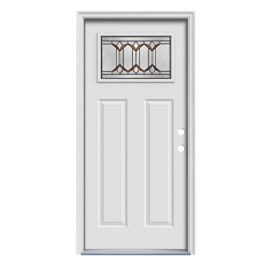 JELD-WEN Park Hill Craftsman Insulating Core 1-Lite Left-Hand Inswing Steel Primed Prehung Entry Door (Common: 32-in x 80-in; Actual: 33.5-in x 81.75-in)