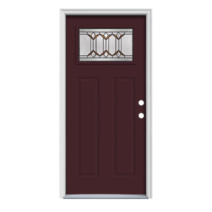 JELD-WEN Park Hill Craftsman Insulating Core 1-Lite Left-Hand Inswing Currant Steel Painted Prehung Entry Door (Common: 36-in x 80-in; Actual: 37.5-in x 81.75-in)