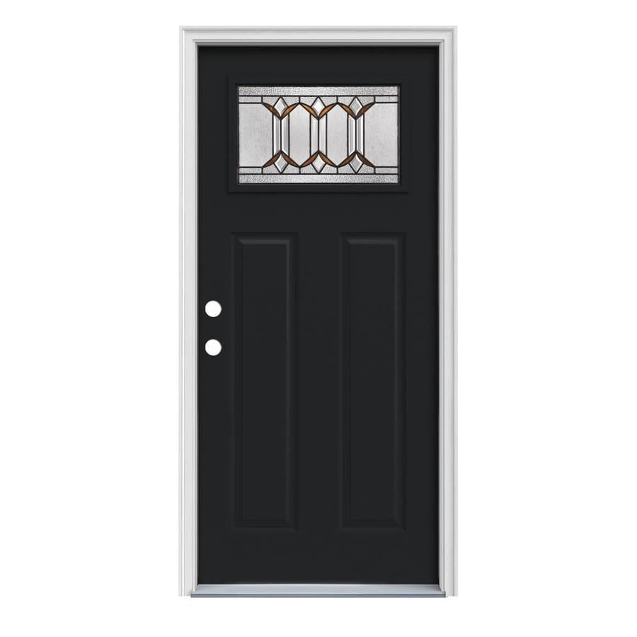 JELD-WEN Park Hill Craftsman Insulating Core 1-Lite Right-Hand Inswing Peppercorn Steel Painted Prehung Entry Door (Common: 36-in x 80-in; Actual: 37.5-in x 81.75-in)
