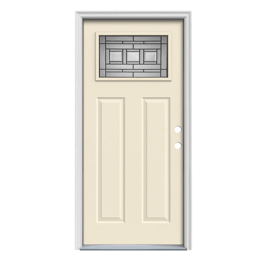 JELD-WEN Craftsman Glass Insulating Core 1-Lite Left-Hand Inswing Bisque Steel Painted Prehung Entry Door (Common: 32-in x 80-in; Actual: 33.5-in x 81.75-in)