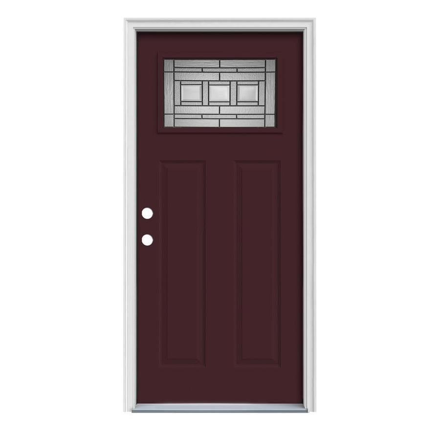 JELD-WEN Craftsman Glass Insulating Core 1-Lite Right-Hand Inswing Currant Steel Painted Prehung Entry Door (Common: 32-in x 80-in; Actual: 33.5-in x 81.75-in)