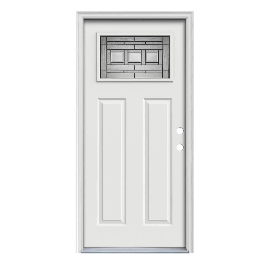 JELD-WEN Craftsman Glass Insulating Core 1-Lite Left-Hand Inswing Arctic White Steel Painted Prehung Entry Door (Common: 36-in x 80-in; Actual: 37.5-in x 81.75-in)