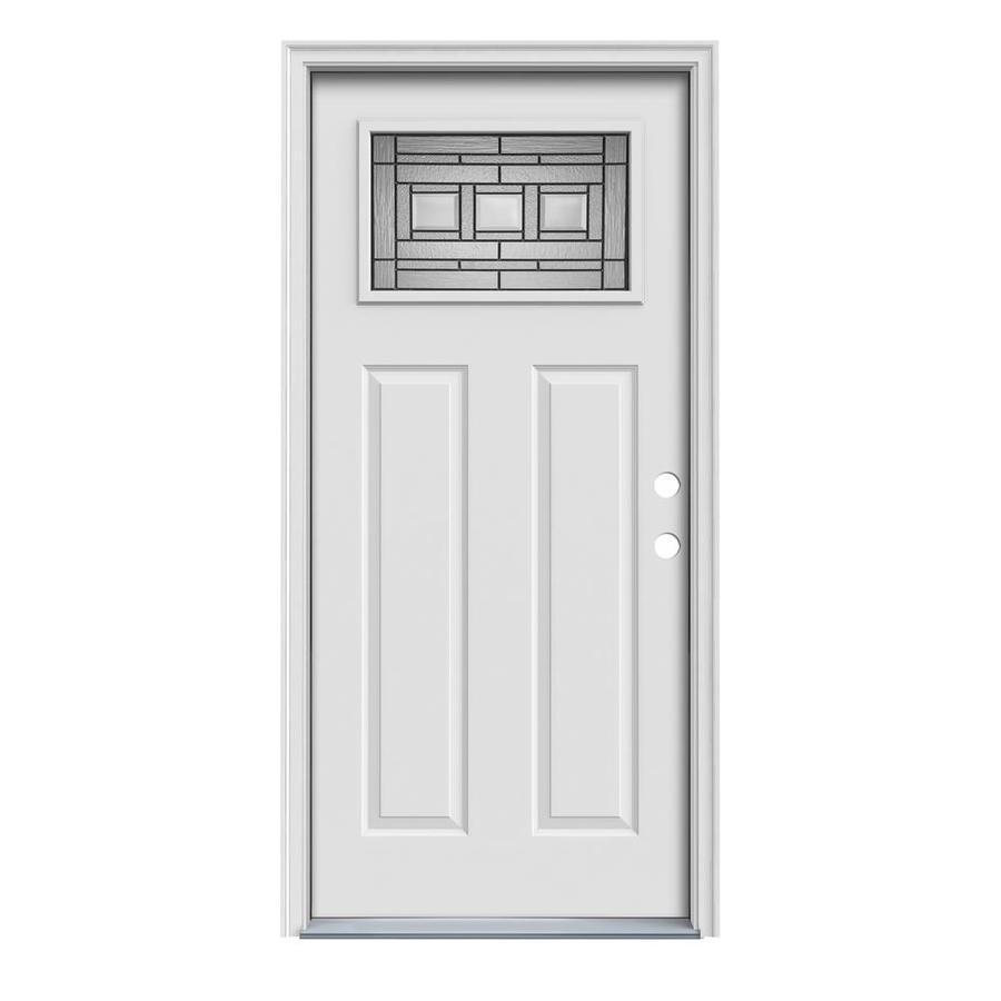 JELD-WEN Craftsman Glass Insulating Core 1-Lite Left-Hand Inswing Steel Primed Prehung Entry Door (Common: 36-in x 80-in; Actual: 37.5-in x 81.75-in)