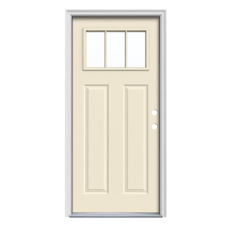 JELD-WEN Craftsman Insulating Core Craftsman 3-Lite Left-Hand Inswing Bisque Steel Painted Prehung Entry Door (Common: 36-in x 80-in; Actual: 37.5-in x 81.75-in)
