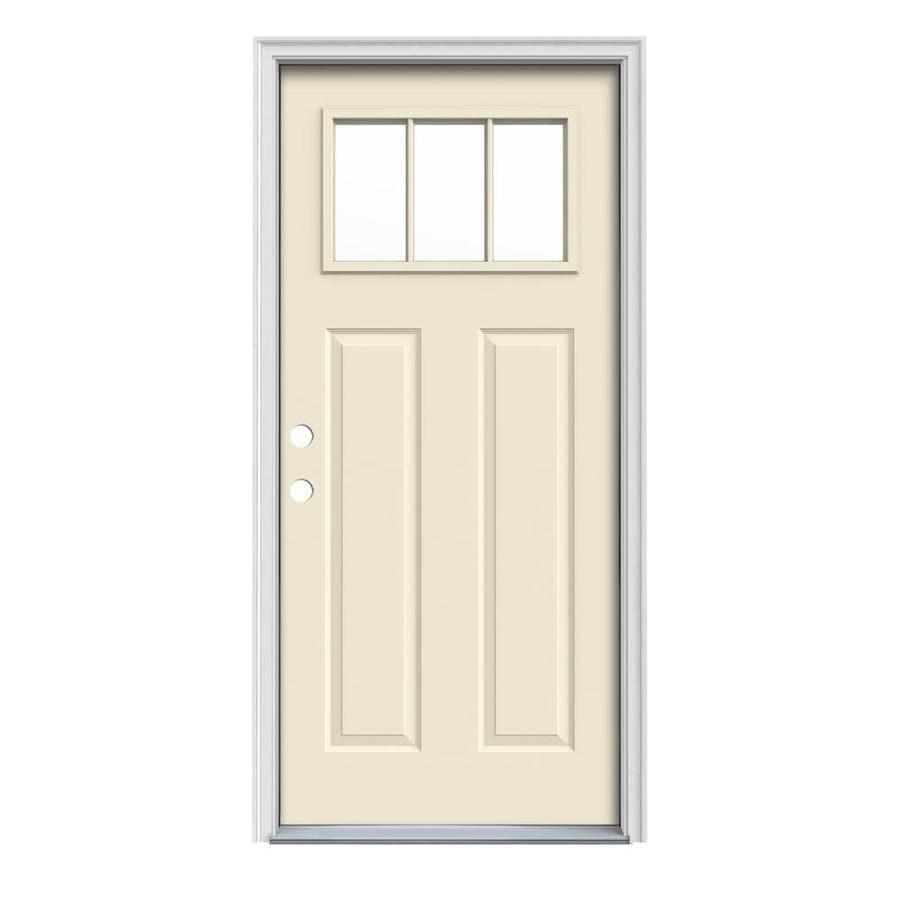 JELD-WEN Craftsman Insulating Core Craftsman 3-Lite Right-Hand Inswing Bisque Steel Painted Prehung Entry Door (Common: 36-in x 80-in; Actual: 37.5-in x 81.75-in)