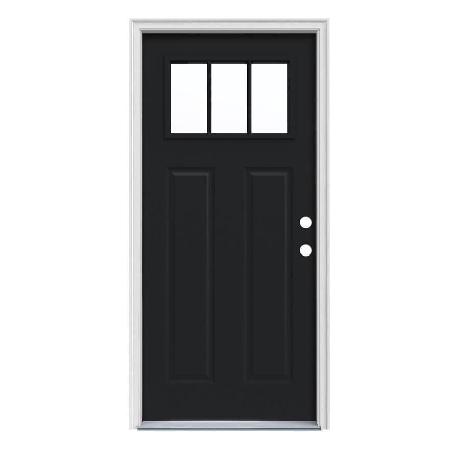 JELD-WEN Craftsman Insulating Core Craftsman 3-Lite Left-Hand Inswing Peppercorn Steel Painted Prehung Entry Door (Common: 36-in x 80-in; Actual: 37.5-in x 81.75-in)
