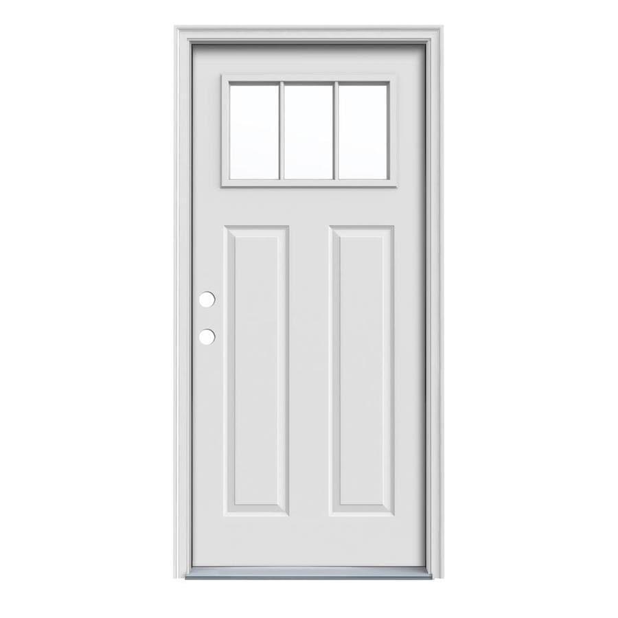 JELD-WEN Craftsman Insulating Core Craftsman 3-Lite Right-Hand Inswing Steel Primed Prehung Entry Door (Common: 36-in x 80-in; Actual: 37.5-in x 81.75-in)